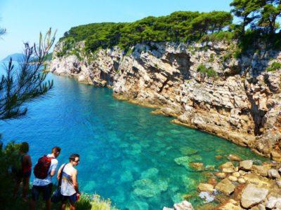 Zwemmen en hiken op het Kolocep Eiland nabij Dubrovnik Kroatië
