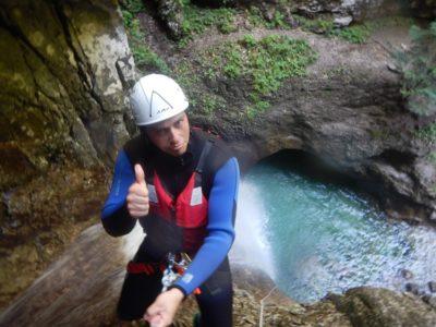 Canyoning in de Rio Nero kloof nabij het Gardameer