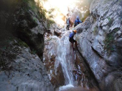 Canyoningen door de Torrent de la Corva kloof nabij Girona