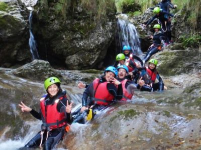 Familie Canyoning tocht Rio Nero Gardameer Italië